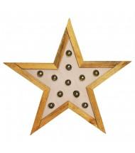 Estrella de madera con bombillas