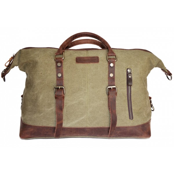 8b75d55cf Bolsa de viaje Coronel Green de lona y piel - El Mercado de la Vida