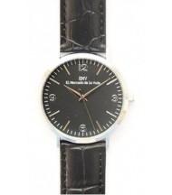 silver and black crocodrile black watch EMV S14