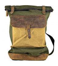 Backpack Canaima Green de lona y piel