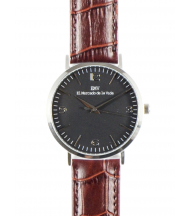silver and black crocodrile brown watch EMV S14