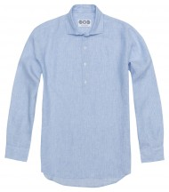 Camisa Polera Lino Azul Rayas