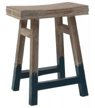 Taburete de madera con patas en azul