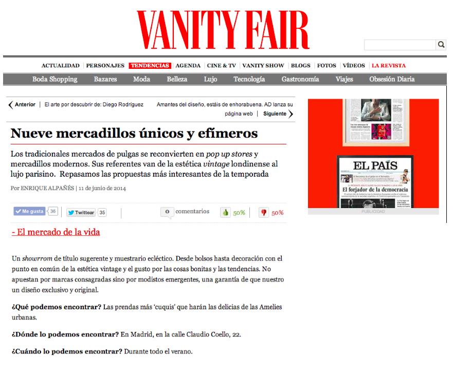 El Mercado de la Vida en Vanity Fair