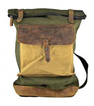 Backpack Canaima Green de lona y piel